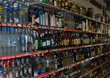 Gin and whisky on the shelves at Bombadil's